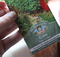 A packet of cress seeds